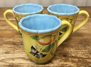 Dept 56 French Provencal Fruit Flowers Bugs Butterfly Yellow Blue 3 Coffee Mugs