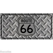 Route 66 Diamond Cut Metal License Plate Made In Usa