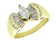 Natural 2ct Diamond Marquise With Baguettes Engagement Ring 14k Gold