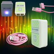 100x 4 Usb Port Wall Adapter+10ft Cable Charger Sync Pink For Iphone Ipod Ipad