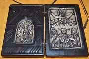 Antique Ethiopian Orthodox Christian Wood Altar And Carved Stone Religious Icon