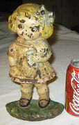 Antique Hubley Usa Cast Iron Dolly Dimple Girl Toy Doll Art Statue Door Doorstop