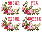 Vintage Image Shabby Pink Red Rose Swag Kitchen Canisters Waterslide Decal Ki420