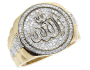 Menand039s 10k Yellow Gold Islamic Allah Real Diamond Pinky Presidential Ring 1.0ct