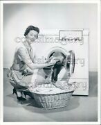 Pretty Housewife Gets Towels Out Of Vintage Bendix Dryer Press Photo