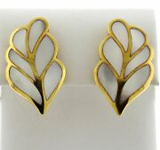 1980s And Co 18k Gold Mother Of Pearl Inlay Leaf Motif Earrings