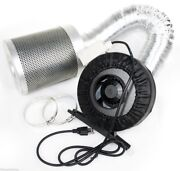 4 Inline Hydroponic Duct Fan Blower 190cfm Carbon Filter Ducting Combo Grow
