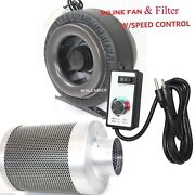 4 Inline Hydroponic Duct Fan Blower 190cfm Carbon Filter W/controller Combo