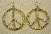 Dangle Drop Earrings Peace Sign Beaded Big 2 Circles Yellow Color Seed Beads