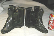 Antique Art Deco Ronson Usa Nude Lady Egyptian Revival Statue Sculpture Bookends