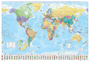 Political Map Of The World - Poster / Print World Map With Flags - 2016