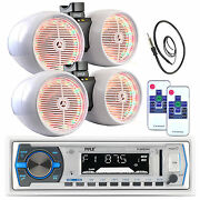 Pyle 8 White Tower Speaker Led Sets, Antenna, Pyle Usb Bluetooth Aux Receiver