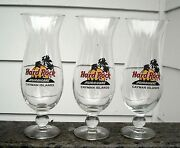 3 Hard Rock Cafe Cayman Islands Hurricane Glasses 9.25 Tall Collectible