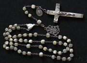 19th Cent Mop And Sterling Catholic 1st Communion Rosary W Antique Silver Medals