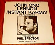 John Lennon Instant Karma / Who Has Seen The Wind Original Apple 45 And Pic Sleeve