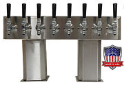 Stainless Steel Draft Beer Tower Made In Usa 8 Faucet Air Cooled - Ptb-8ss-op