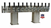 Stainless Steel Draft Beer Tower Made In Usa 12 Faucet Air Cooled - Ptb-12ss-op