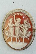 Early 1900's Antique 10k Gold 3 Graces Large Cameo Pin Pendant Heart Border