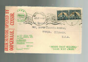 1942 Johannesburg South Africa Censor Advertise Cover To Usa Ford Seed Company 3