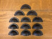 12 Brown 3 Cup Pulls Drawer Cabinet Bin Handles Rustic Antique-style Cast Iron