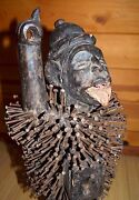 Antique Bakongo Protective Wooden Male Statue African Nail Fetish Congo Africa