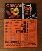 Orig. 1959 Oregon State College Beavers Football Schedule-poster Fold-out