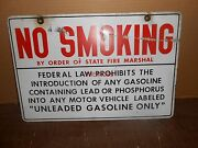 Vintage No Smoking Prohibit Lead Gasoline Metal Double Sided Sign