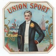 1890s Union Sport Outer Cigar Label With Dapper Man Horse Racing And Yachting