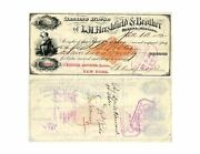 1882 190.00 Banking House L.h. Hershfield And Brother Helena Mt. Old Check Used