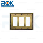 Wall Light Switch Plate Rocker Toggle Cover Traditional Antique Gold 3 Gang