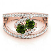 1.58 Cts Green Vs2-si1 2 Stone Diamond Solitaire Ring 14k Rose Gold