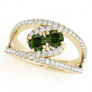 1.58 Cts Green Vs2-si1 2 Stone Diamond Solitaire Ring 14k Yellow Gold