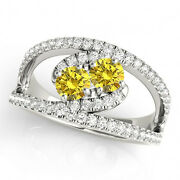 1.58 Cts Yellow Vs2-si1 2 Stone Diamond Solitaire Ring 14k White Gold