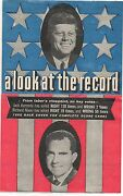 1960 Political Flier A Look At The Record John F Kennedy And Richard Nixon