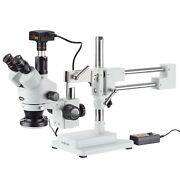 3.5x-45x Simul-focal Stereo Zoom Microscope + Boom Stand + Ring Light + 5mp Usb3