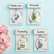24 Sentiment Flower Keychains Thank You, Friends, Family, Love Wedding Favors