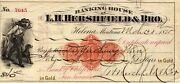 1875 40 In Gold W/ovrpnt L H Hershfield And Bro Helena Mt Old Check Rnd-9 Used
