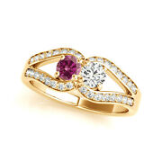 1.25 Carat Pink And White Vs2-si1 2 Diamond Solitaire Engagement Ring 14k Yg