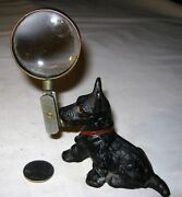 Antique Hubley Terrier Dog Cast Iron Desk Art Magnifying Glass Toy Paperweight