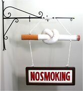 Old Fashioned Vintage Twisted No Smoking Cigarette Sign Cigar Store Fun
