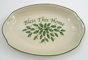 Lenox Holiday Bless This Home Christmas Holly And Raised Design Oval Serving Dish