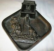 Antique Judd Usa Post Office Mail Cast Iron Dog Desk Art Plaque Pen Inkwell Tray