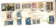 1919 Tenerife Spain Cover To Scotland France Red Cross Cinderella Labels