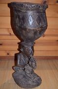 Antique Luba Tribe African Carved Wood Ceremony Drum Mother And Child Congo Africa