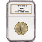 2005 American Gold Eagle 1/2 Oz 25 - Ngc Ms70 - Non Edge-view Holder