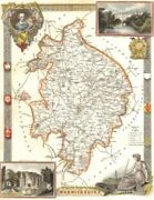Warwickshire Antique Hand-coloured County Map By Thomas Moule C1840 Old