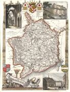 Monmouthshire Antique Hand-coloured County Map. Railways. Moule C1840 Old