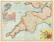 South West England. Devon Cornwall Somerset. Inset Plymouth And Bristol 1920 Map