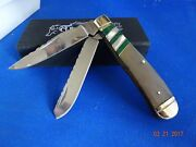 Bear And Bull Awesome 4 1/8 Trapper Pocket Knife Ox Horn Green Turquoise And Mop