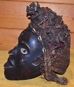 Antique African Bakongo Tribal Nail Fetish Crown Of Thorns Mask Congo Africa